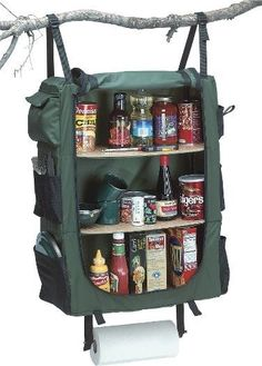 Camping survival. Some useful, some downright redic! Portable Kitchen that Folds Up in a Suitcase. A Hanging Cupboard