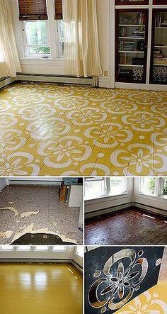 stenciled floor boards... Love it!