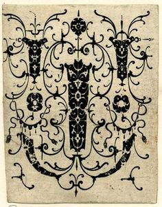 Pendants; blackwork with Schweifwerk grotesques and several small fillets; from a series of ornament prints engraved and published by Hailler.  1604  Engraving