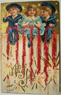 Vintage Fourth of July children. (Gotta love the children + fireworks theme. Oh, those crazy olden times.)