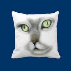 Green Eyed Kitty Throw Pillow by fstasu58