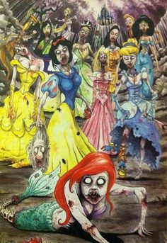 Zombie princess...this is completely bonechilling!! I wonder if I showed Maddie if she'd think it's cool or scary. lol creepi, zombi disney, stuff, disney princesses, art, awesom, zombies, thing, zombi princess