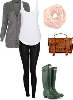 rainy day - Olive Hunter rain boths, infinity scarf, camel purse, grey boyfriend sweater