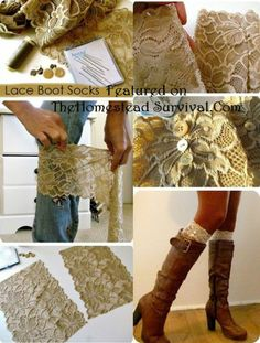 Lace Boot Cuffs Quick and Easy Project - The Homestead Survival diy lace boot cuffs, sew, idea, fashion, crafti, cloth, homestead survival, lace boot socks, boots