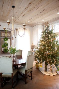 .tree in dining area.