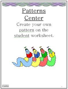 Math Centers Patterns - Common Core