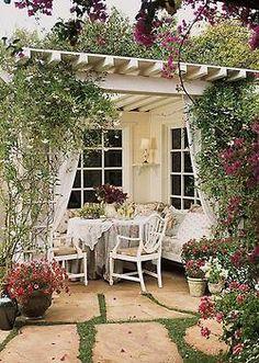 garden patios, pergolas, outdoor rooms, gardens, back porches
