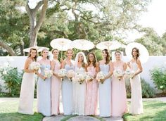 Pretty pale mixed palette of Amsale Bridesmaids long dresses, bridesmaids, idea, bridesmaid dresses, pastel pink, pale pink, happy colors, pastel colors, bridesmaid pastel