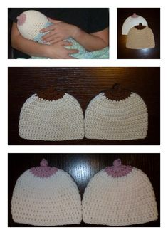 Boobie Crocheted Hats.   This hat would be a fun baby shower gift!! It is also a great way to bring awareness to Breast cancer (adding a pink ribbon for a nice touch).  $10.00 each
