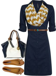 I have a denim/chambray dress and a gray chevron scarf. I might just be able to pull this one off.