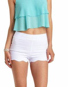 Scalloped High-Waisted Shorts: Charlotte Russe