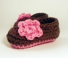 Crochet Rose Baby Booties - chocolate brown and pink