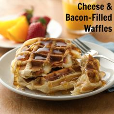 Cheese & Bacon-Filled Waffles #yum #bacon #brunch