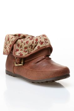 Flat Booties with Floral Fabric Fold Over.
