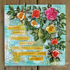 Swirlydoos/Die~Namites Dies Canvas Kit by Lynne Forsythe  - Roses mixed media art project
