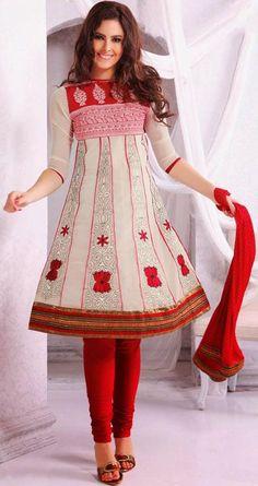 White A Line Faux Georgette Thread Work Anarkali Salwar Suit 24199