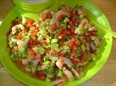 Ceviche Shrimp & Avacado Tacos. These are great (and the photo from the site doesn't do them justice)! We leave out the Japaleno so everyone in the family can enjoy them. :-)