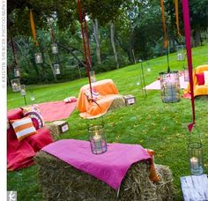 outdoor reception- bales of hay and blankets
