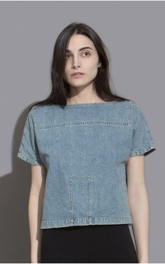 Boxy fit, boatneck top cut in our stone washed denim. Slightly cropped. #rachelcomey