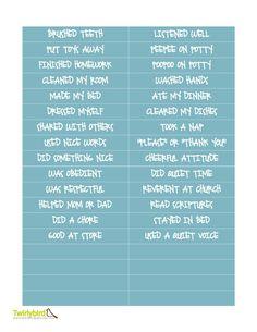 Behavior Sticker Charts - task ideas