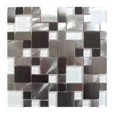 Modern cobble stainless steel tile with white glass would  make a perfect kitchen backsplash, accent wall, bathroom wall or bathroom backsplash.