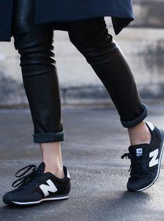 new balance black, fashion styles, street styles, street style fashion, minimal and classic, leather pants, minimal clothes, fashion women, new balance 410