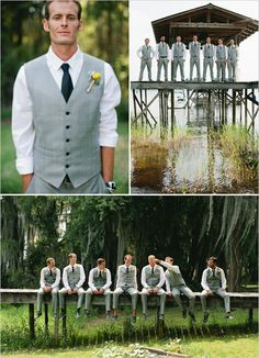 gray groomsman ideas. I like the idea of gray or beige khaki color instead of black. Though if we go red then black would be striking. Maybe dark gray? Decisions decisions!