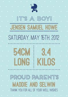 """Baby announcement """"Print yourself"""" invitation $45"""