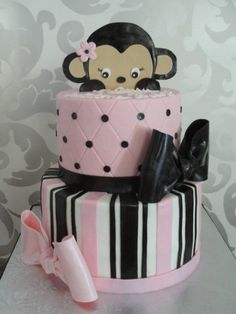 pink and black baby shower cake. I super luv this!