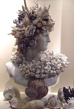 Sea Shell Decorated Statue Bust of  Apollo