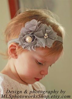 Pure Gray Baby Headband with Soft Grey Flowers and Pearl Rhinestone Accents - Toddler Girl Smokey Gray Shabby Hair Bow