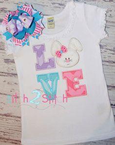 Bunny Love Applique Design for machine embroidery.