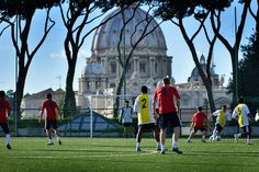 The Beautiful Game Meets the Beatified Game.  Sixteen teams comprised of seminarians and priests throughout Rome compete in the Clericus Cup soccer tournament. Seminarians and priests play on a pitch set against the stunning backdrop of St. Peter's Basilica.