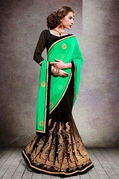 Enchanting Black and Green #Saree