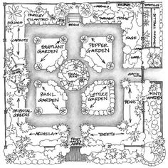 Here's a plan for a 32-foot-square cottage-style garden that is productive, inventive, and not difficult to maintain.