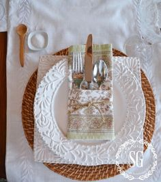 Stone Gable and white dishes...