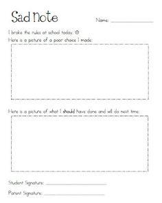 classroom management - discipline - sad note