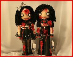 OOAK Hand Stitched Zombie Horror Dolls Creepy Gothic Folk Art By Jodi Cain