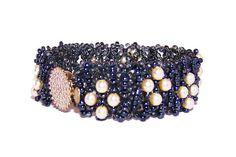 Black Handmade Beaded Bracelet with Pearly Glass beads