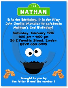 Cookie Monster Birthday Party Invitations, Sesame Street Party Invitations
