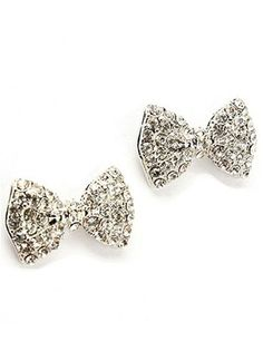 bow earrings <3 fashion, style, accessori, bow stud, bows, crystal bow, jewelri, bow earring, earrings