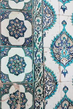 Constantly inspired by designs we see in our travels. These blue and green painted tiles are no exception.
