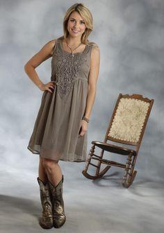 Roper® Olive Chiffon Lace Empire Waist Sleeveless Western Dress