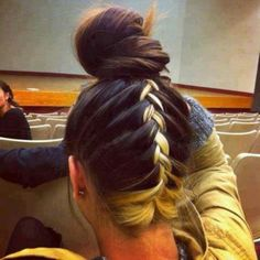 Blonde braid #pmtsmboro #paul #mitchell #murfreesboro #braids #braided #braid #hair #style #hairstyles #paulmitchellschools #bun #upsidedownbraid