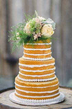 Simple Naked Wedding Cake