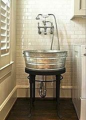 Cut idea for a mudroom or a laundry room, even an outdoor sink