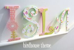 Handpainted and Decorated wooden letters Nursery decor GIRL