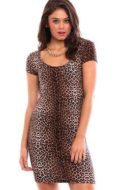 Deb Shops All over cheetah print cap sleeve bodycon day dress $18.75