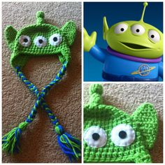 crochet toys, toy stori, beanie hats, toy story crochet, crochet toy story, alien hat, beani hat