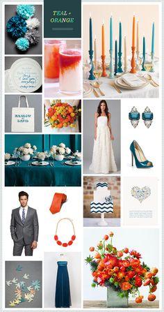 Teal + Orange wedding inspiration